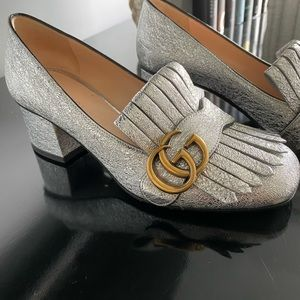 Gucci Marmont silver metallic mid-heel, size 35